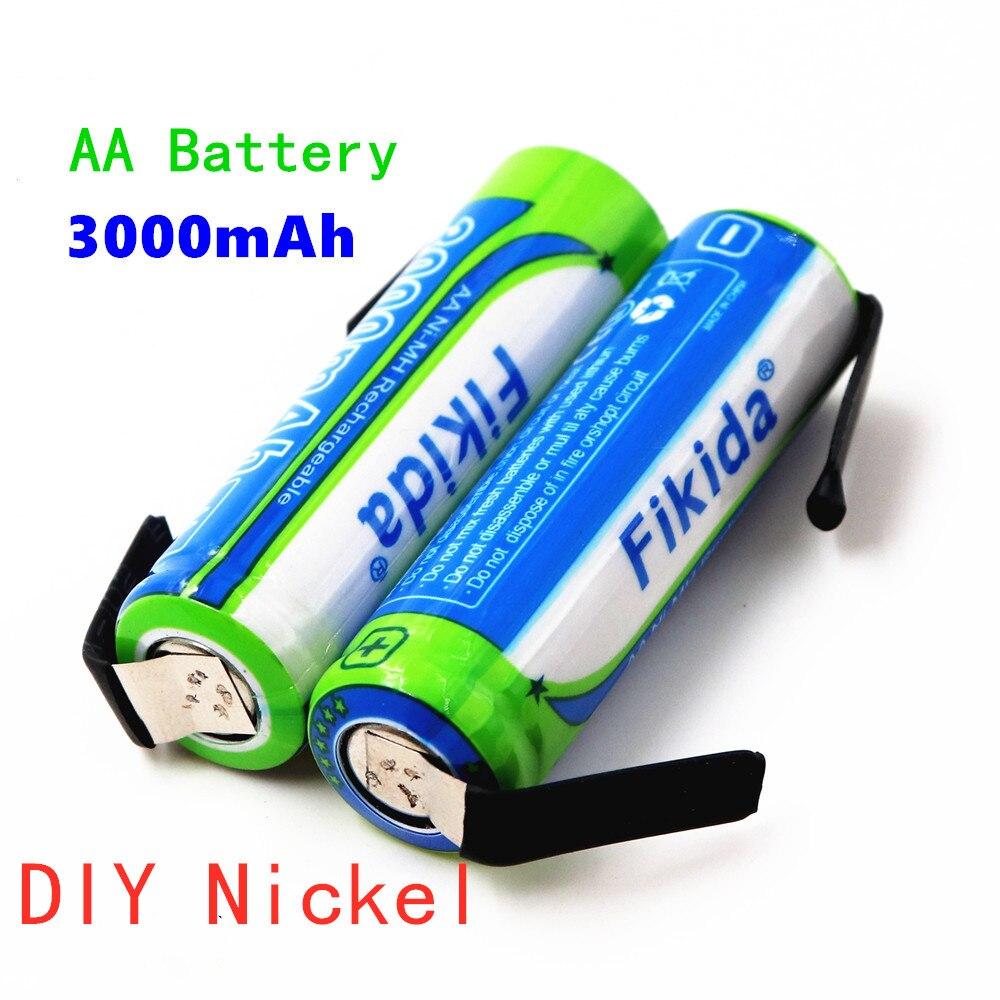 100% AA-batería recargable de 1,2 V, 3000mAh, NiMH 14430, con pasadores de soldadura, para bricolaje, maquinilla de afeitar eléctrica, cepillo de dientes, Juguetes