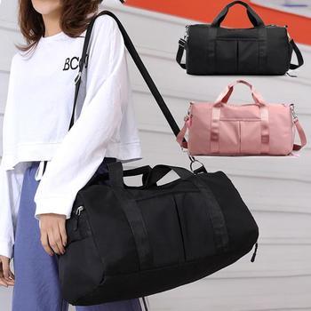 Nylon Women Men Travel Sports Gym Shoulder Bag Large Waterproof Nylon Handbags Black Pink Color Outdoor Sport Bags 2019 New 4