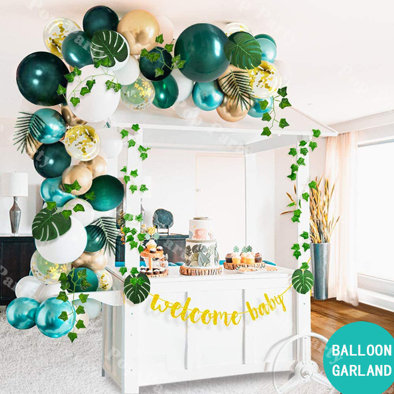58pcs Wild One Balloons Garland Arch Metallic Gold Green Ballons Baby Shower Birthday Party Decoration Kids Globos <font><b>Cumplea</b></font>ñ<font><b>os</b></font> image