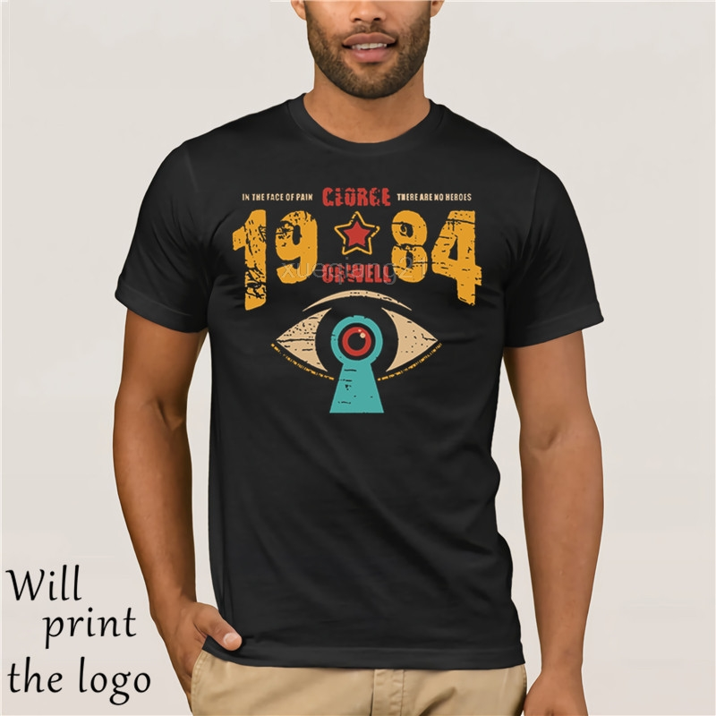 HOT deals funny t shirt On Nine Eighty-Four 1984 men's tshirt George Orwell Dystopian Room 101 Novel Combat CCTV image