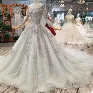 Image 3 - LS701645グレーイブニングドレス2020長袖oネックドバイ母花嫁ドレスクリスタル女性の日のドレス