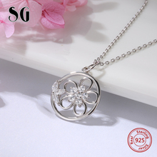 aliexpress dainty cute flower necklace accessories gifts for women 925 sterling silver pendant wholesale free shiping