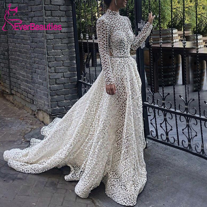 Vestido De Noiva Long Sleeeves Wedding Dresses 2020 High Neck Robe De Mariee Bride Dress A-Line Wedding Gowns