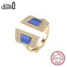 Effie Queen Trendy S925 Silver Adjustable Ring for Women Luxury Geometric Rings 14K Gold Finger Rings Silver Party Jewelry EQR05 effie queen trendy big charming women ring 196 pieces zircons paved smoothly real luxury crystal finger ring for party dr123