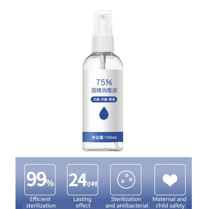 2020 Hand Sanitizer 100ml 75% Alcohol Disinfectant Liquid Portable Antiseptic Hand Sanitizing Spray