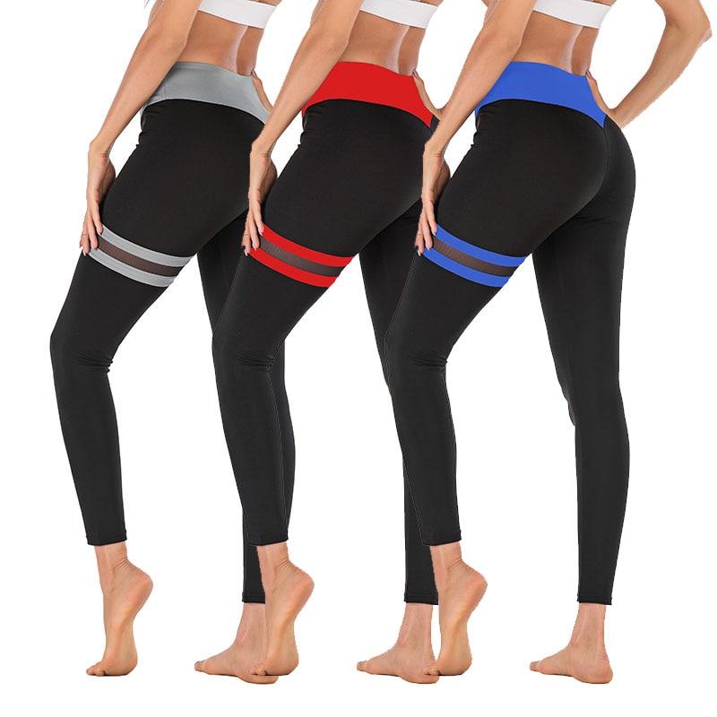 New Women Fitness Yoga Pants Leggings Gym Slim Mesh Patchwork Capri Pants Fitness Sports Trousers Women Skinny Pencil Pants