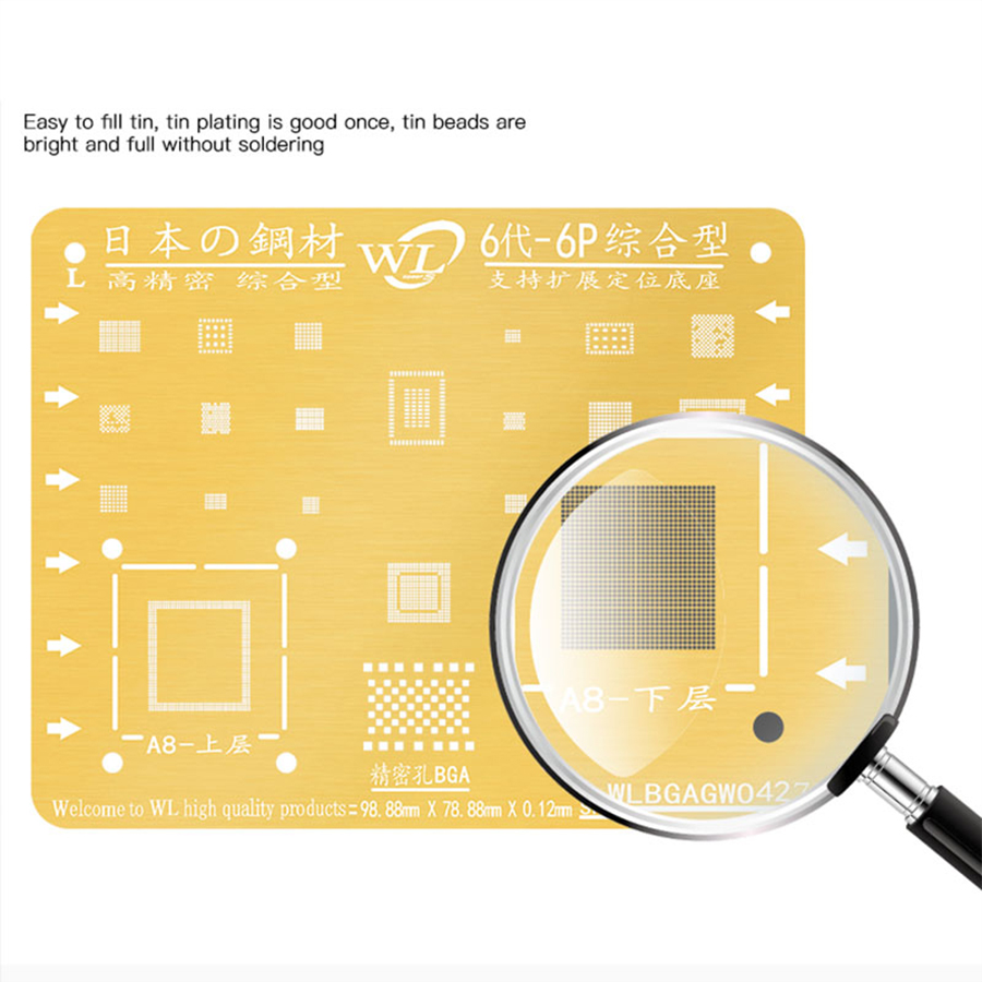 WL Golden BGA Reballing Stencil Kit 0.12mm Thickness Tin Mesh Solder Template for iPhone XSMAX XS XR X 8 8P 7P 7 6P 6 5 5S 4