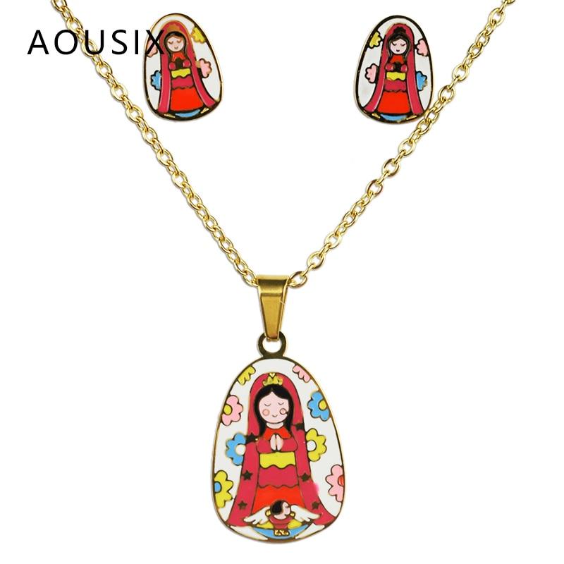 La vierge marie 100% plaqué or en acier inoxydable collier boucles d'oreilles ensemble le fils de dieu ensemble de bijoux enfants ensemble bijoux femme 2