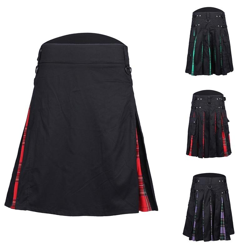 2019 Men Waist Casual Skirt Pant Solid Plaid Punk Hip-hop Avant Garde Men Fashion Scotland Trousers Scottish Kilt