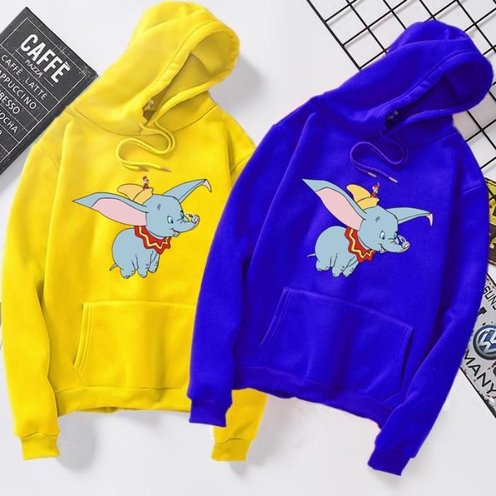 2020 Autumn Winter Shirts Cartoon Animal Dumbo Elephant Sweatshirt Women Men Couple Shirt Top Tees Women Hoodies S-3XL