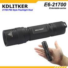 KDLITKER-linterna E6-21700 P60, color negro, 1 ud.