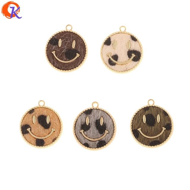 Cordial tasarım 50 adet 18*20MM takı aksesuarları/DIY yapımı/el yapımı/yüz şekli/leopar baskı etkisi/takılar/küpe bulguları