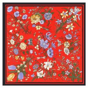 Image 3 - Lesida lenço de seda pura mulheres grandes xales flor design quadrado cachecóis echarpes foulards femme bandanas envoltório 130*130cm