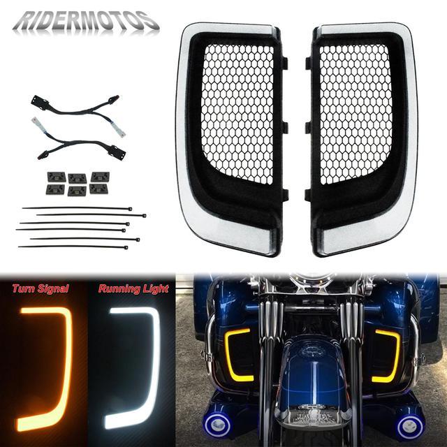 אופנוע LED Fairing נמוך גריל הפעל אות אור מקרה להארלי סיור אלקטרה Glide Ultra קלאסי רחוב Glide FLHTCU