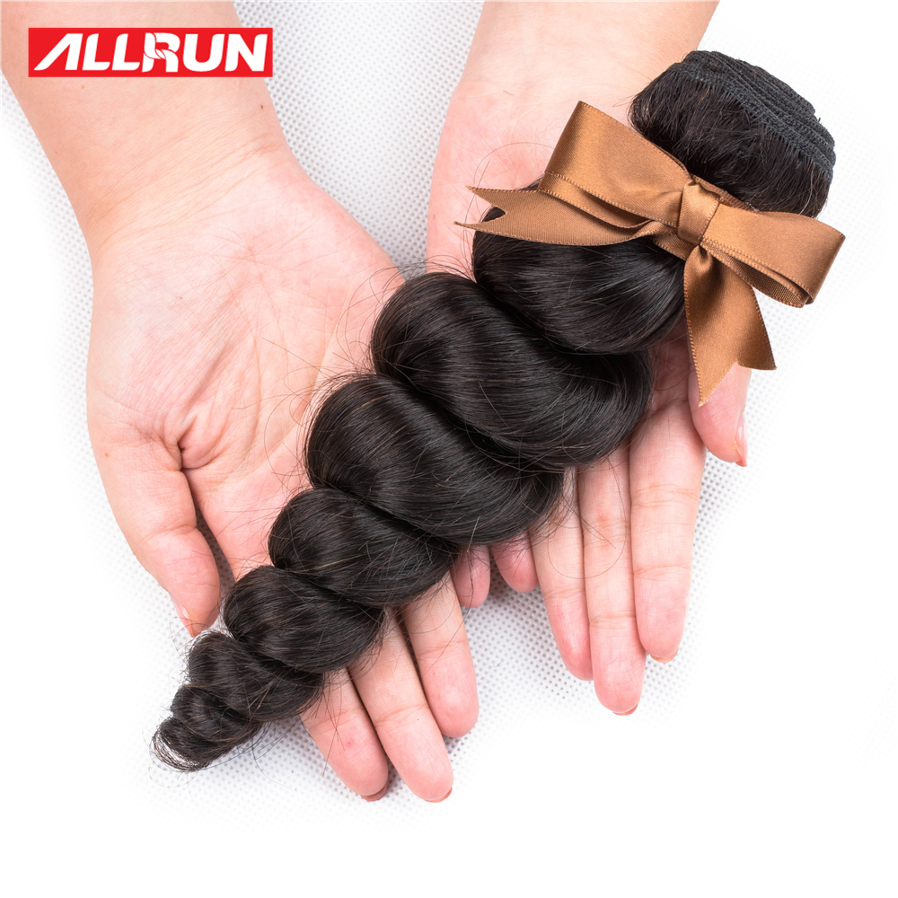 Allrun Loose Wave Brazilian Hair Weave 1/3/4 Bundles 100% Human Hair Extensions Remy Natural Color Free Shipping Hair Bundles
