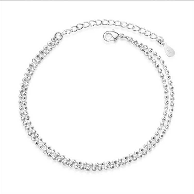 Everoyal Charm Anklets Silver Jewelry For Women Fashion 925 Sterling Silver Anklet Female Accessories Double Layers Ankets Girls