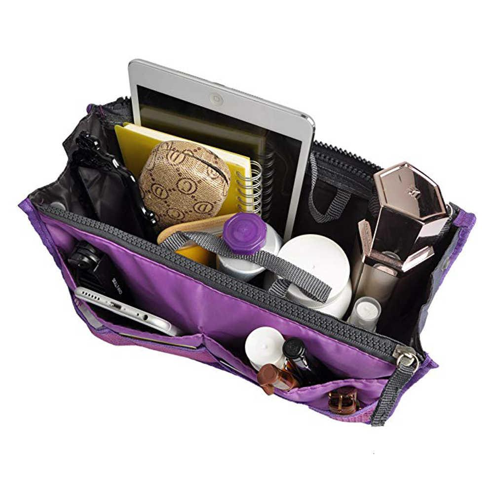 Saco de inserção organizador bolsa de viagem feminina de náilon insert organizer bolsa grande forro senhora maquiagem bolsa cosmética tote feminino