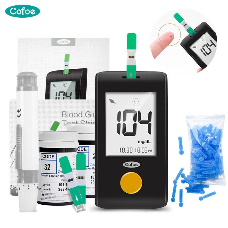Глюкометр Cofoe mg/dL, глюкометр для диабета, глюкометр с бесплатными тест-полосками, ланцет, тест на сахар в крови, уход за здоровьем