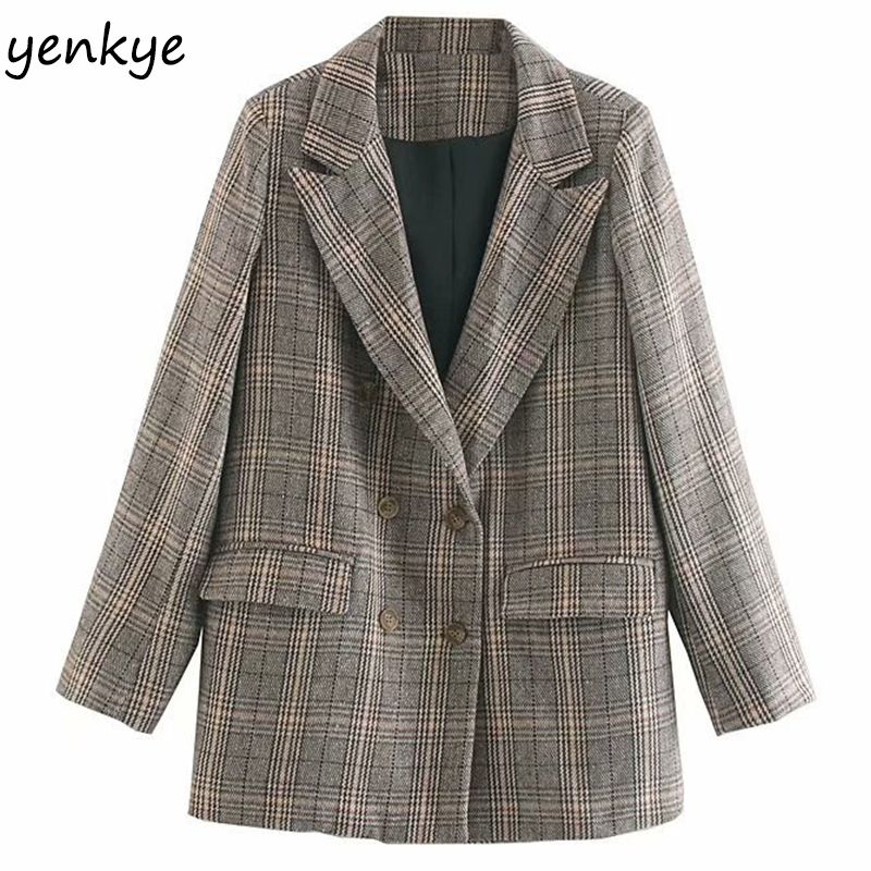 2019 Women Vintage Plaid Casual Blazer Mujer Notched Collar Long Sleeve Double-breasted Autumn Suits Work Wear Blazers OZZ1018