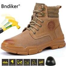 Bndiker scarpe da lavoro antinfortunistiche da uomo punta in acciaio stivali da cacciatore in pelle impermeabile alla caviglia