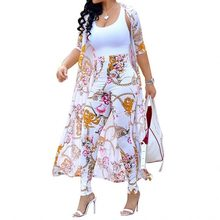 Summer 2 Piece Set Women Cardigan Long Trench Tops And Bodycon Pant Suit Casual Clothes Boho Sexy Two Piece Outfits 2020(China)