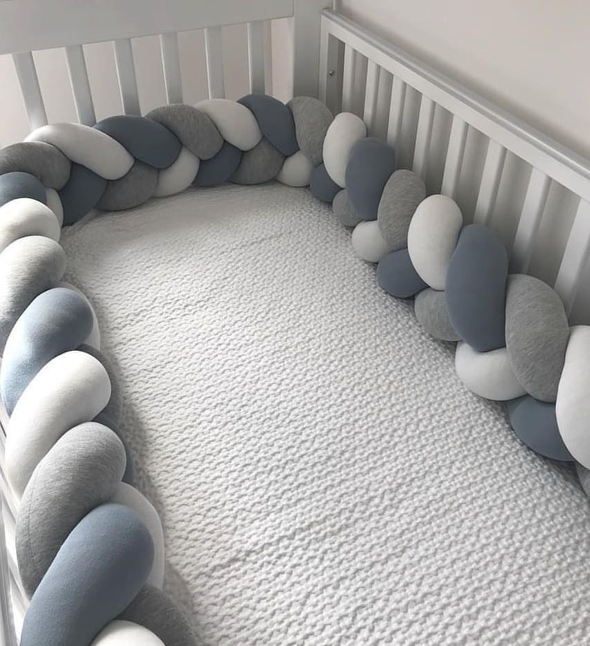 3M Baby Bed Bumper Protector Infant Cradle Pillow Cushion Braid Knot Bumper Crib Bumper Tour De Lit Bebe Tresse Room Decor