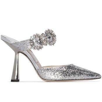2021 Summer High Heels Slippers Suede Satin Glitter Women Sandals Crystal High Heels Party Wedding Shoes