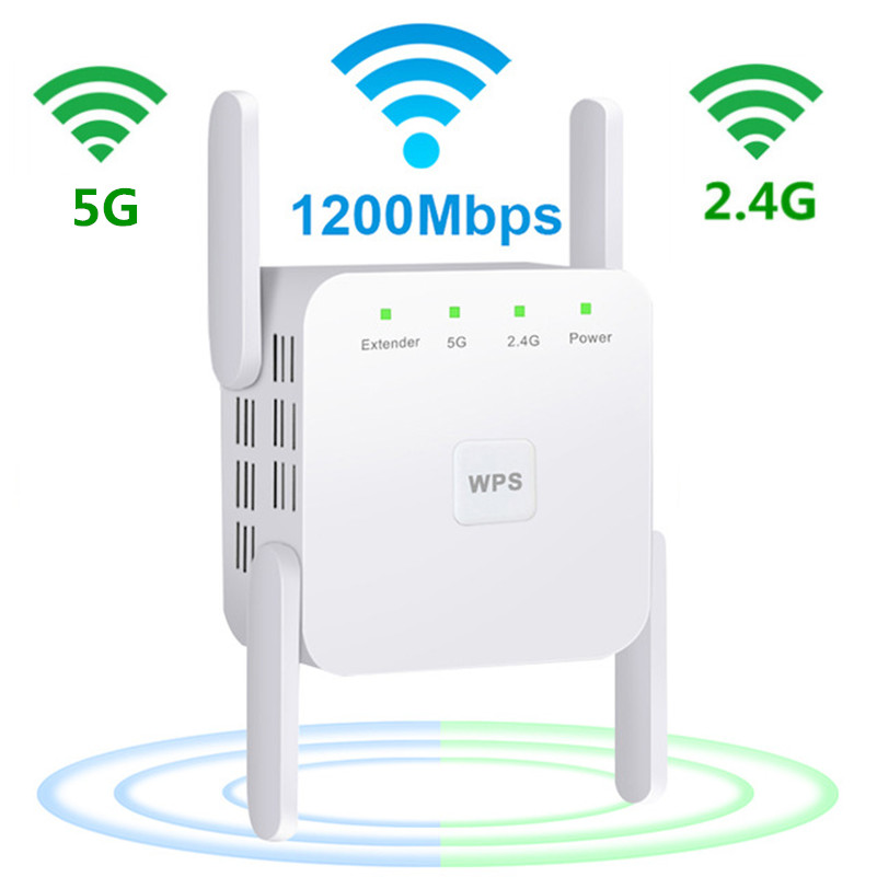 Wireless 5G Wifi Repeater 5ghz Wifi Extender AC 1200Mbps Wifi Amplifier Repiter Wi-Fi Booster 4 Antennas  5G  Wi Fi Access Point