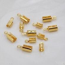 Lot de 10 perles en cuivre, clip rond en cuir, corde ronde, connexion de ligne Milan, boucle d'extrémité, matériel de bricolage