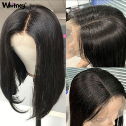 Perruque droite courte Bob dentelle perruques 4x4 fermeture perruque Bob cheveux humains perruque cheveux indiens Remy cheveux 180% densité 16 pouces Shuangya cheveux