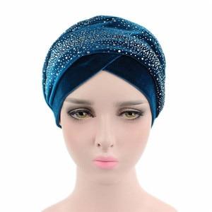 Image 2 - Clearance Women Velvet Turban Long Head Wraps Scarf Luxury Drill Hat Cap Hijab Muslim HeadScarf Hair Accessories Dropshipping