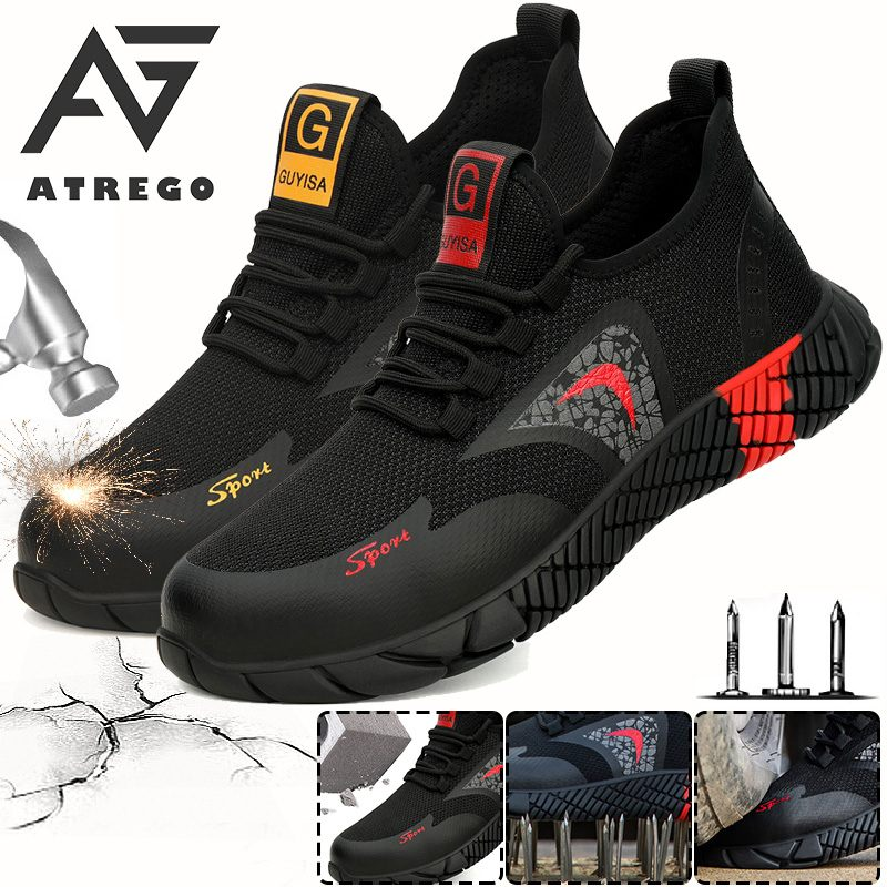 AtreGo Mens Mesh Safety Shoes Steel Toe