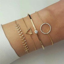 WUKALO 31 Styles Charm 4Pcs/set Female Crystal Bracelet Set Fashion Gold Color Triangle Round Leaf Bangles for Woman