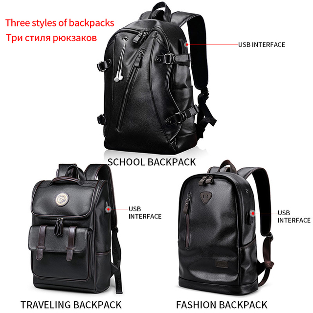 PU Leather Men Backpack External USB Charge Waterproof