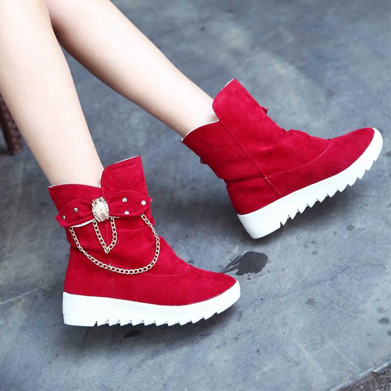 """LZJ Mujer """"Zapatos Mới Nữ Mùa Đông Ấm Ủng Nữ Thoải Mái Mũi Tròn Nơ Trơn Trượt trên Bãi Giữa bắp chân Giày Giày Bốt Nữ"""