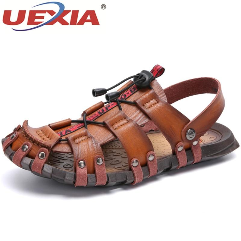 UEXIA Casual Men Soft Sandals Comfortable Men Summer Leather Sandals Men Roman Outdoor Beach Shoes Footwear Sandalias Big Size