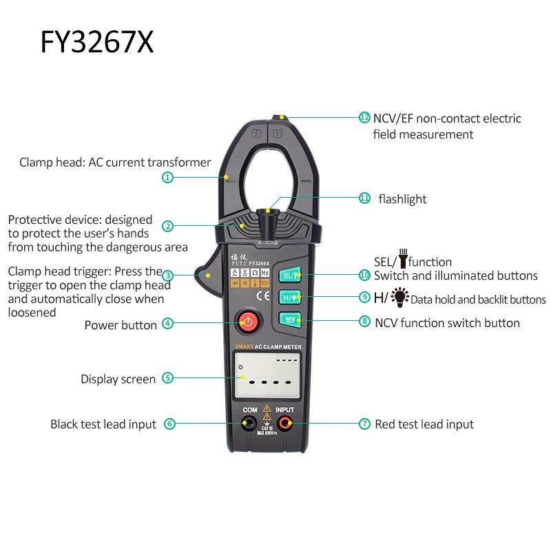 FY3269S Clamp  Clamp  Automatic FY3269X Intelligent Mastfuyi NCV Capacitance Meter High Precision Digital RMS Range True Meter