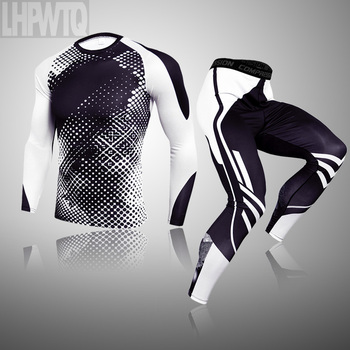 3-piece sets Compression Suits Men's Quick Dry set Clothes Sport Running MMA jogging Gym work out Fitness Tracksuit clothing 27