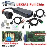 Chips completos diagbox 7.83 8.55 lexia3 921815c 12 peças  nec relé 7 peças optoacopladores multilíngue psa lexia 3 placa pcb dourada pp2000