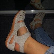 MCCKLE Woman Summer Leather Vintage Sandals Buckle Casual Sewing Women Shoes Female Ladies Platform Retro Sandalias Plus 35-44