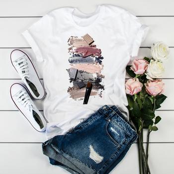 Kobiety 2020 3D drukuj 90s Vogue stylowe topy Tumblr t-shirty T ubrania koszula damska damska graficzna trójnik żeński T-Shirt odzież tanie i dobre opinie BONJEAN CN (pochodzenie) Na wiosnę jesień COTTON POLIESTER krótkie REGULAR Sukno NONE Na co dzień Z okrągłym kołnierzykiem