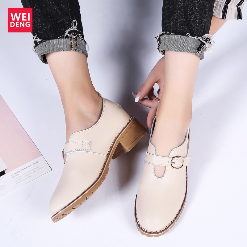 WeiDeng Increase 3.5cm Women Genuine Leather Casual Shoes Hasp Leisure Loafers Female Flat Shoes Slip On Soft Breathable Light