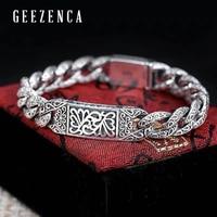 Vintage 925 Sterling Silver Thai Bracelet For Men Jewelry Chinese Ornamentation Domineering Punk Rock Hip hop Men's Bracelets