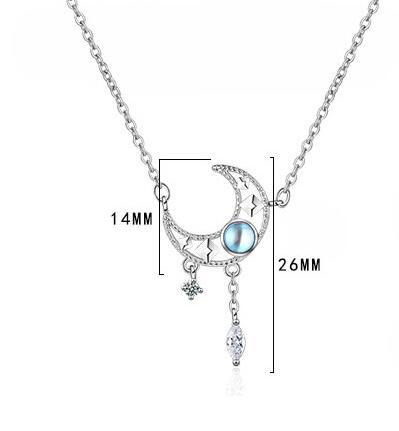Fashion Choker Necklaces for Women 925 Silver Opal Star Moon Charm Pendants Necklace Wedding dz848
