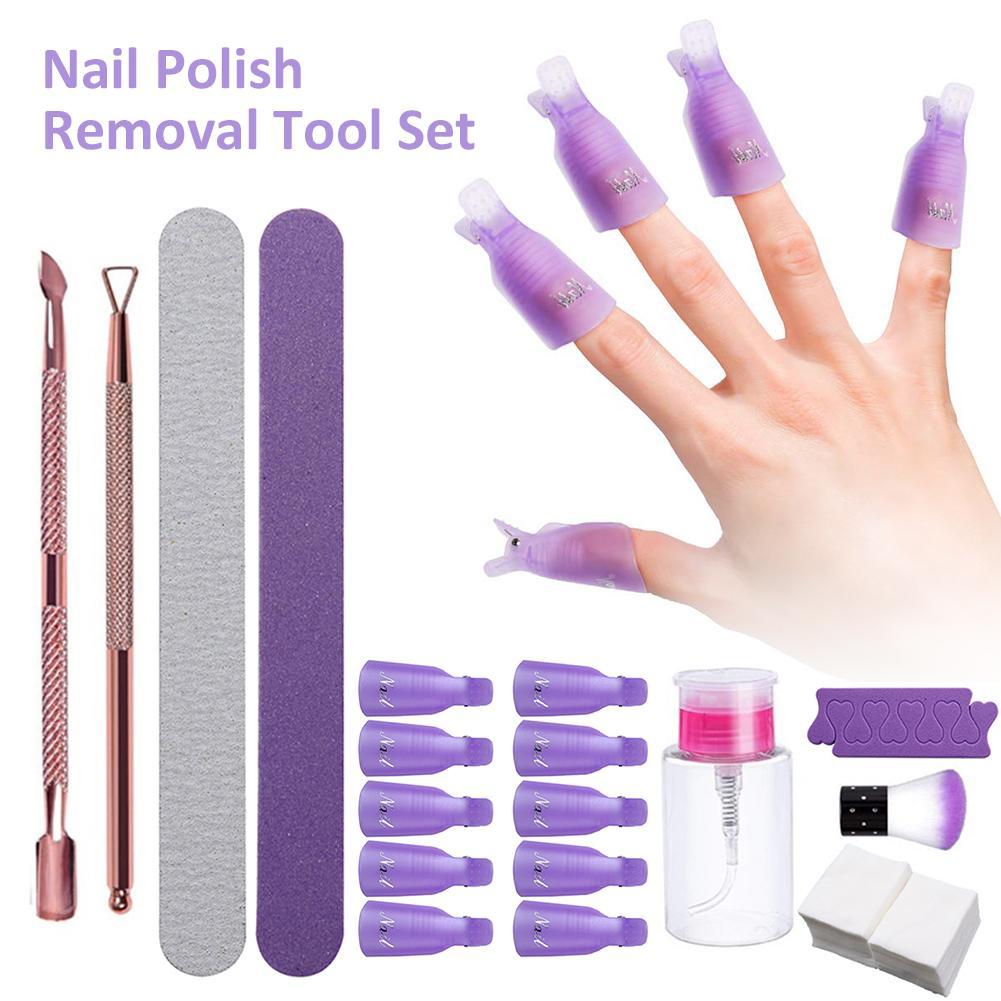 New Nail Polish Removal Tool Set Towel Polishing Strips Dust Rose Gold Polish Removing Planer Set Tool