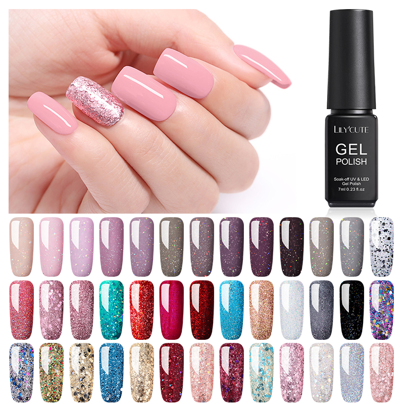 LILYCUTE 7ML  Nude Glitter UV Gel Nail Polish  Pink Color Series Led UV Gel Varnish Semi Permanent Nail Gel Varnish