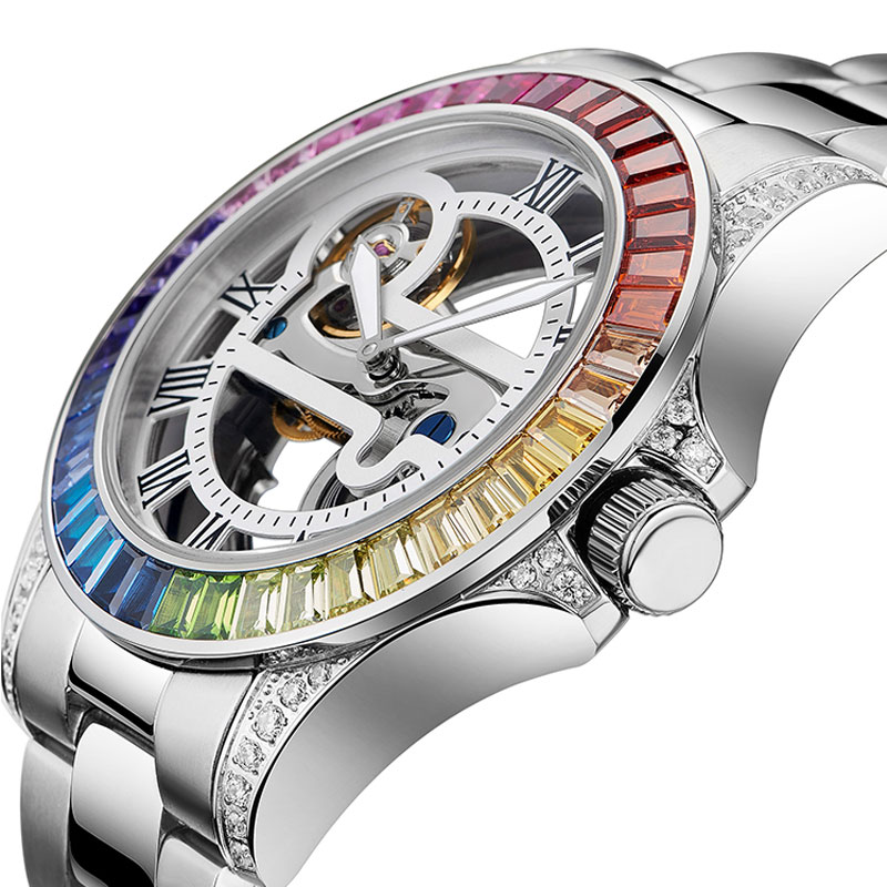 2020 New Devena Couple Mechanical Watches Man Woman Automatic Mechanical Watch Hollow Colored Diamond Luxury Watch Waterproof