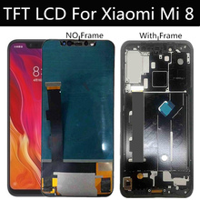 """شاشة 6.21 """"TFT LCD بإطار لهاتف شاومي MI Mi8 Mi 8 شاشة LCD تعمل باللمس محول رقمي مجمع بديل"""