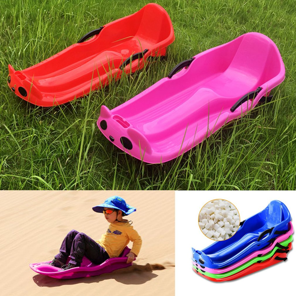 Children Thickened Sled Snowboard Winter Skiing Frost-resistant Grass Snow Beach Car Sliding Plate With Security Brake For Kids