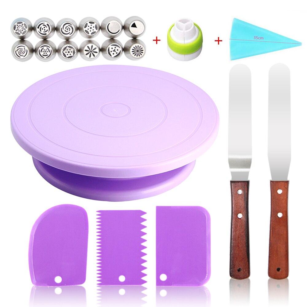 Подставка для торта, вращающаяся основа для торта, пластиковый нож для теста, украшение для торта, 10 дюймов, кремообразная основа, вращающий...